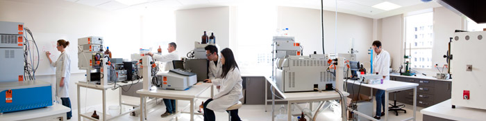 A panoramic view of the lab, showing equipment